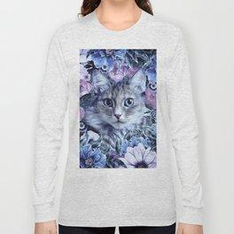 Cat In Flowers. Winter Long Sleeve T-shirt