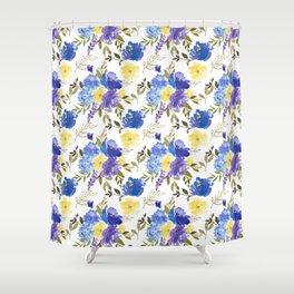 Pastel yellow blue lavender watercolor elegant floral Shower Curtain