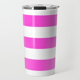 Purple pizzazz - solid color - white stripes pattern Travel Mug