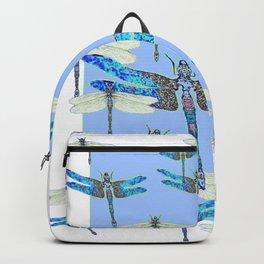 BLUE & GOSSAMER WHITE  DRAGONFLY SEASON ART Backpack