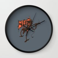 heavy metal Wall Clocks featuring heavy metal by illusign
