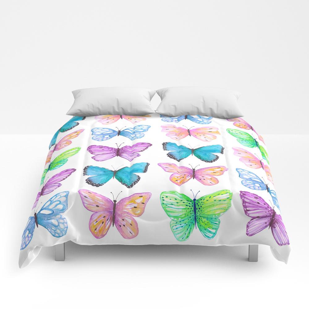 Vibrant Butterflies Watercolor Comforter by Ccartstudio CMF7762855