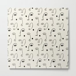 Line Art Faces Pattern Metal Print