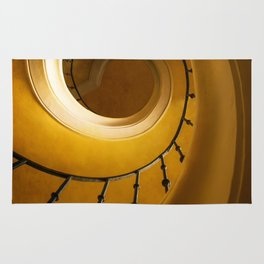 Brown and golden spiral staircase Rug