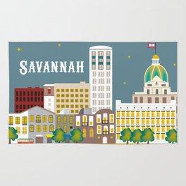 Savannah, Georgia - Skyline Illustration by Loose Petals Rug