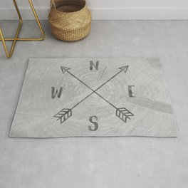 Compass Black and White Tree Rug
