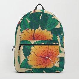 Orange Hibiscus Flowers Backpack