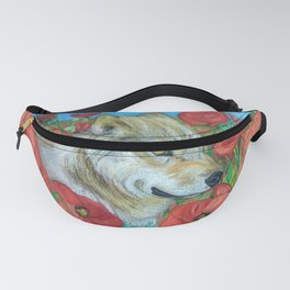 Wolf and Red Poppies Fanny Pack