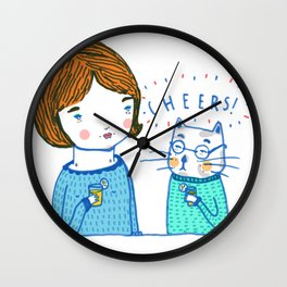 all i ever wanted was to drink ice tea with a cat  Wall Clock