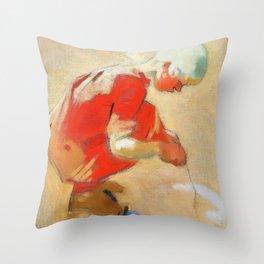 12,000pixel-500dpi - Girl on the Sand - Helene Sofia Schjerfbeck Throw Pillow