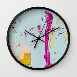 Girls, bird, dog Wall Clock