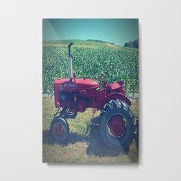 Farm Tractor Corn Field Farmer Print Metal Print