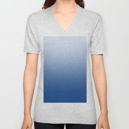 Pastel Blue to Blue Horizontal Linear Gradient Unisex V-Neck