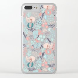 Coral and mermaid hand drawn digital pattern Clear iPhone Case