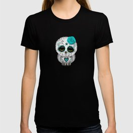 Adorable Teal Blue Day of the Dead Sugar Skull Owl T-shirt