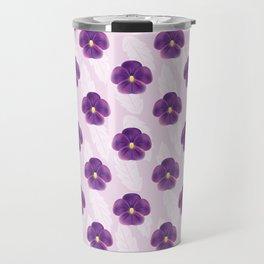 Purple Viola Flowers Pattern Travel Mug