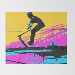 Free Falling - Stunt Scooter Rider Throw Blanket