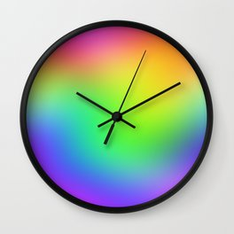 Bright Colorful Rainbow Ombre Design! Wall Clock