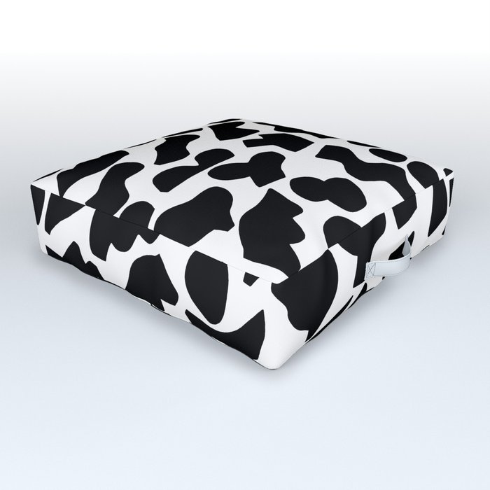Shapes, Black and White Outdoor Floor Cushion