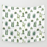 cacti Wall Tapestries featuring watercolour cacti and succulent by Vicky Webb