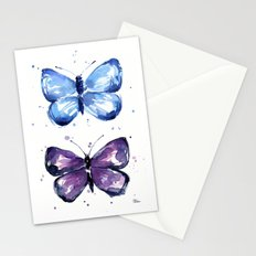 Butterflies Watercolor Blue and Purple Butterfly Stationery Cards