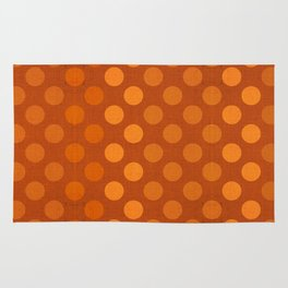 """Orange Burlap Texture & Polka Dots"" Rug"
