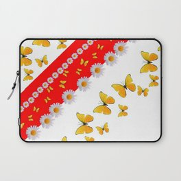 RED MODERN ART YELLOW BUTTERFLIES & WHITE DAISIES Laptop Sleeve