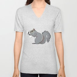 Funny and Cute Squirrel with Glasses Reads Acorn Map Unisex V-Neck