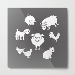 The Little Farm Animals, white on spotted grey Metal Print