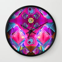 diamonds Wall Clocks featuring Diamonds by thea walstra