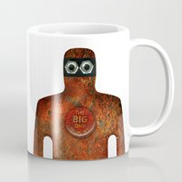 super hero Mugs featuring Rust Man - Super Hero by Paul Stickland for StrangeStore
