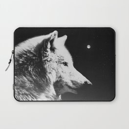 Wolf night | Wolves | Wolf pillow | Starry night | White wolf Laptop Sleeve
