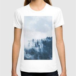 CLOUDS - WHITE - FOG - TREES - FOREST - LANDSCAPE - NATURE - TIMBER - WOODS - PHOTOGRAPHY T-shirt