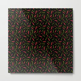 Fiery Hot Red and Green Chillies on Black Mexican Food Pattern Metal Print