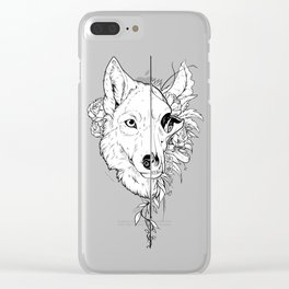 Wolf and Flowers Clear iPhone Case