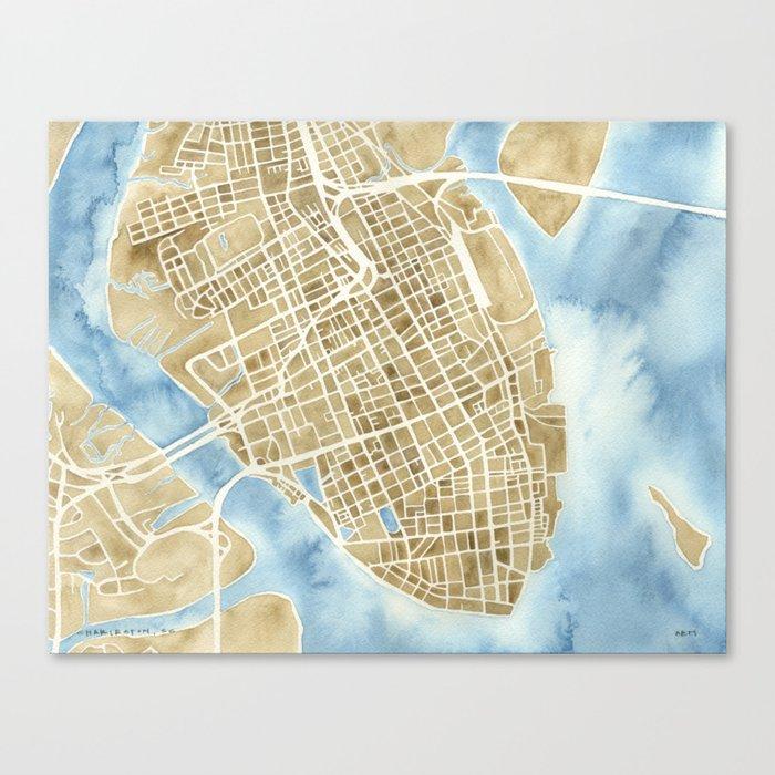 Charleston, South Carolina City Map Art Print Canvas Print by ...