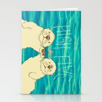 otters Stationery Cards featuring High Five / Sea Otters by Alissa Thiele