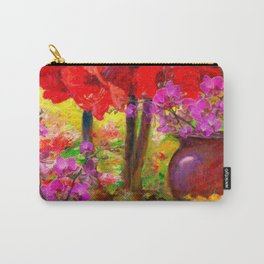 TROPICAL PINK ORCHIDS RED AMARYLLIS STILL LIFE PAINTING Carry-All Pouch