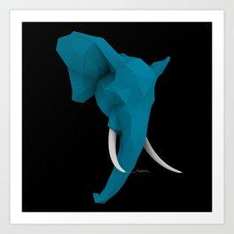 Elephant blue Art Print