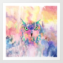 Watercolor eagle owl abstract paint Art Print