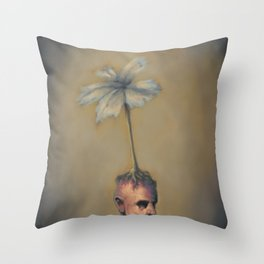 Man with Flower Throw Pillow