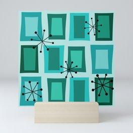 Mid Century Modern Art 'Wonky Doors' Turquoise Teal Mini Art Print