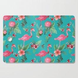 Santa Flamingo Christmas, Holiday Tropical Watercolor Cutting Board
