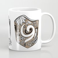 the legend of zelda Mugs featuring Zelda legend - Kokiri shield by Art & Be