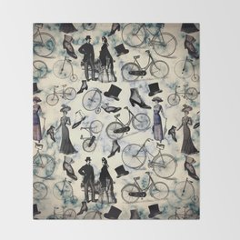 Victorian Bicycles and Fashion Throw Blanket