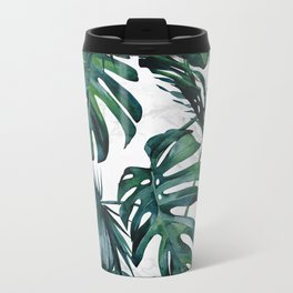 Tropical Palm Leaves Classic on Marble Metal Travel Mug