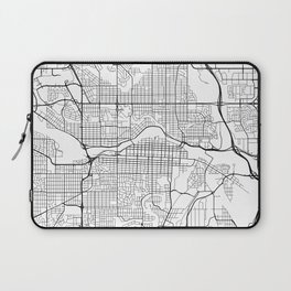 Calgary Map, Canada - Black and White Laptop Sleeve