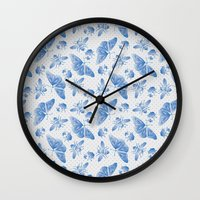 insect Wall Clocks featuring Insect Pattern by Lynette Sherrard Illustration and Design