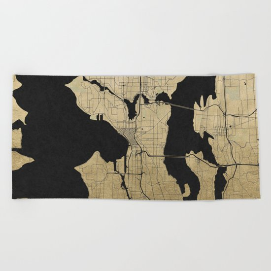 Seattle Black and Gold Street Map Beach Towel