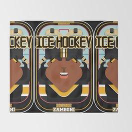 Ice Hockey Black and Yellow - Boardie Zamboni - Aretha version Throw Blanket